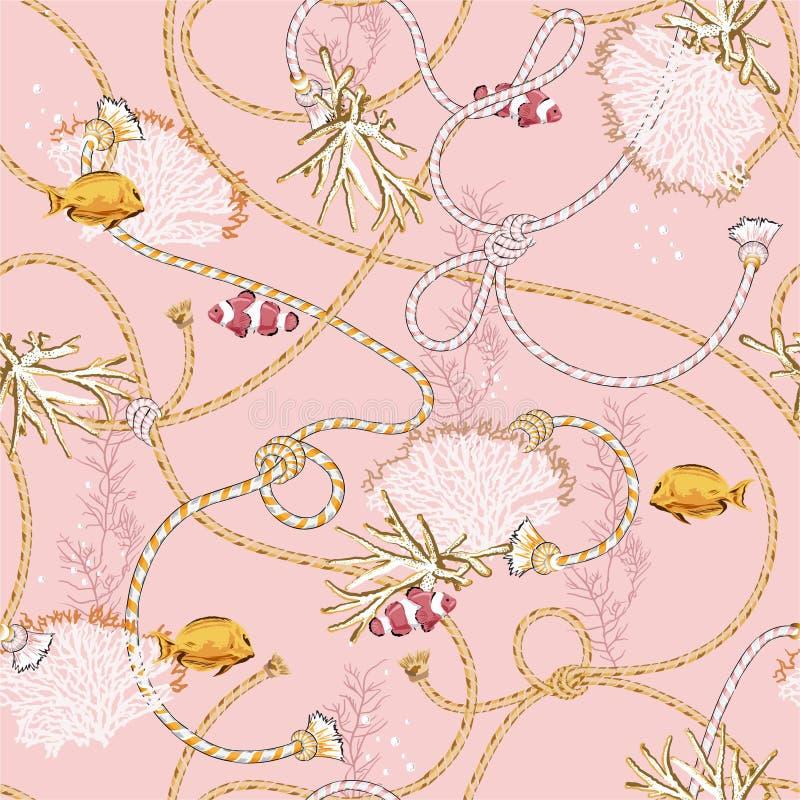 Modèle sans couture de belle illustration de vecteur avec des coraux et le trasure animal Fond marin d'humeur de marin de motif C illustration de vecteur