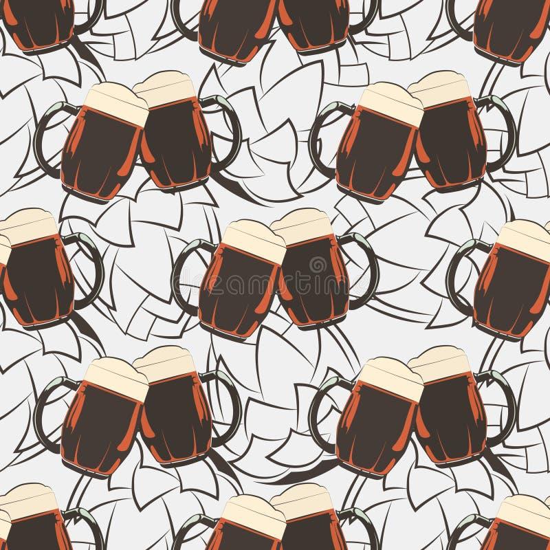 Modèle sans couture de bière avec des silhouetes de tasses et d'houblon de bière illustration de vecteur