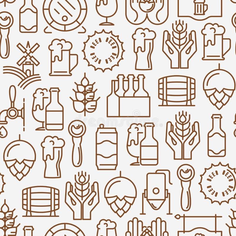Modèle sans couture de bière avec la ligne mince icônes illustration de vecteur