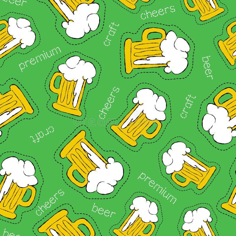Modèle sans couture de bière d'icône tirée par la main de correction illustration stock