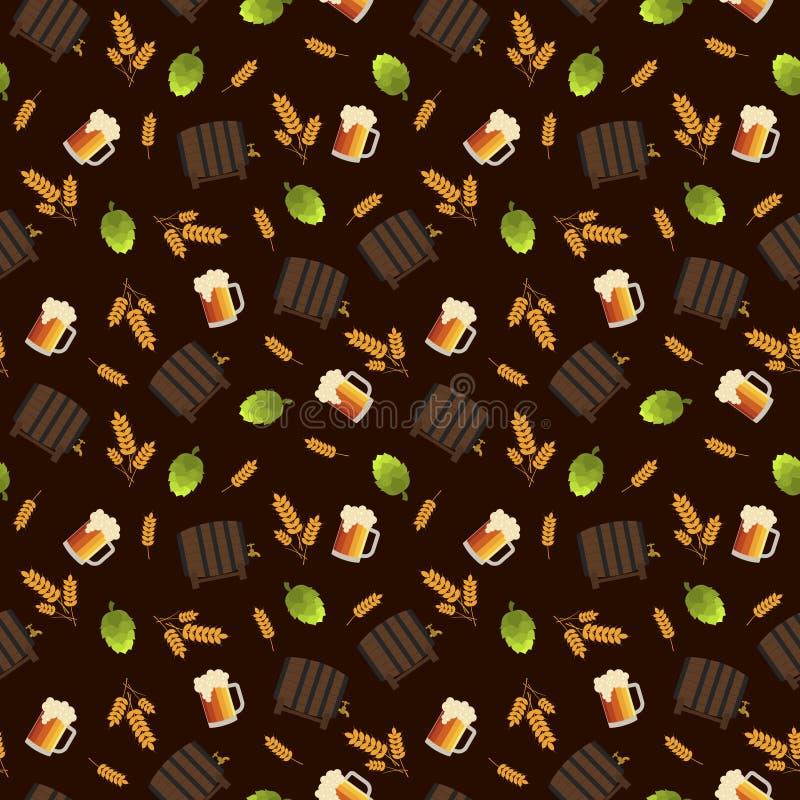Modèle sans couture de bière et d'houblon illustration libre de droits