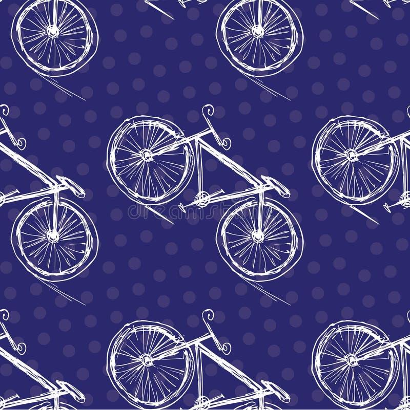Modèle sans couture de bicyclette sur un fond coloré illustration libre de droits