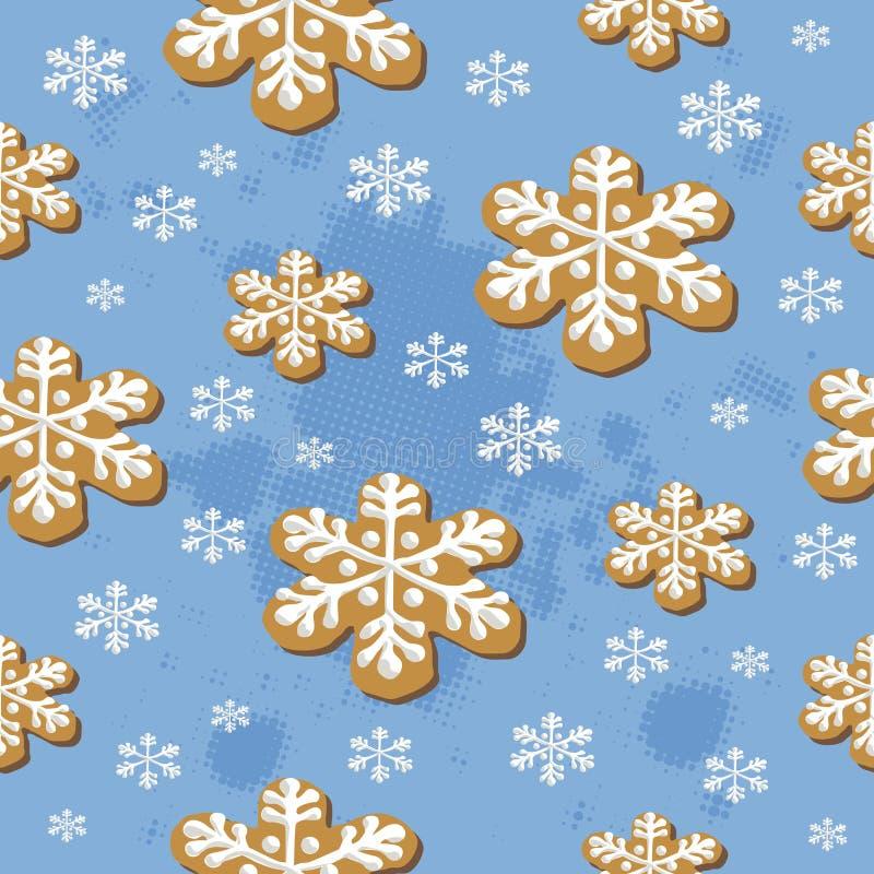 Modèle sans couture de biscuits de Noël illustration stock