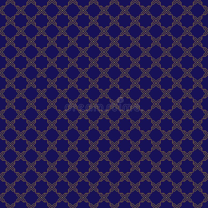 Modèle sans couture de bleu et d'or illustration de vecteur
