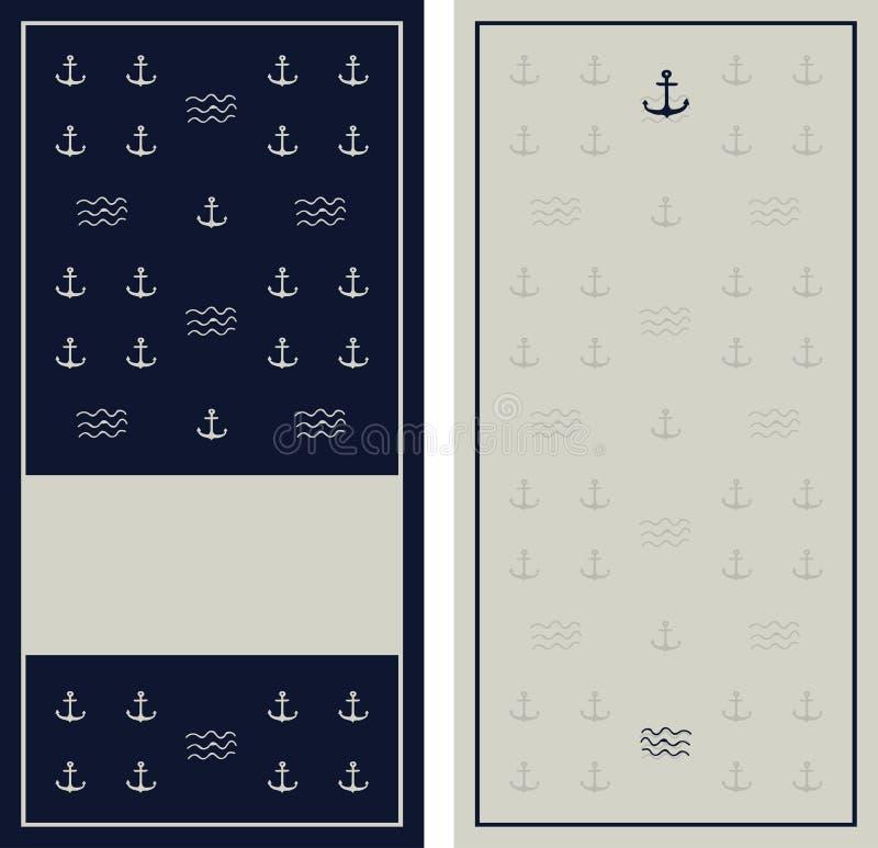 Modèle sans couture de bleu marine d'ancre avec la texture grunge illustration de vecteur
