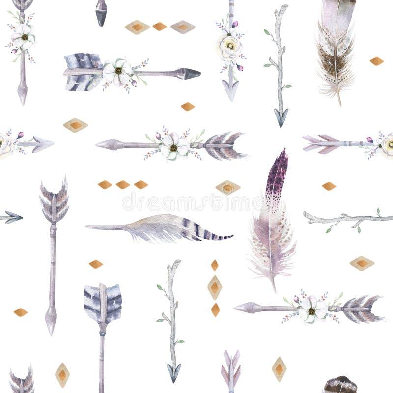 Modèle sans couture de boho d'aquarelle avec le tipi, les flèches et la plume illustration libre de droits