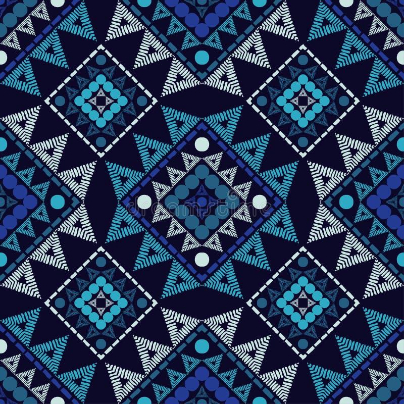 Modèle sans couture de boho ethnique Broderie sur le tissu Texture de patchwork tissage Ornement traditionnel Configuration triba illustration libre de droits