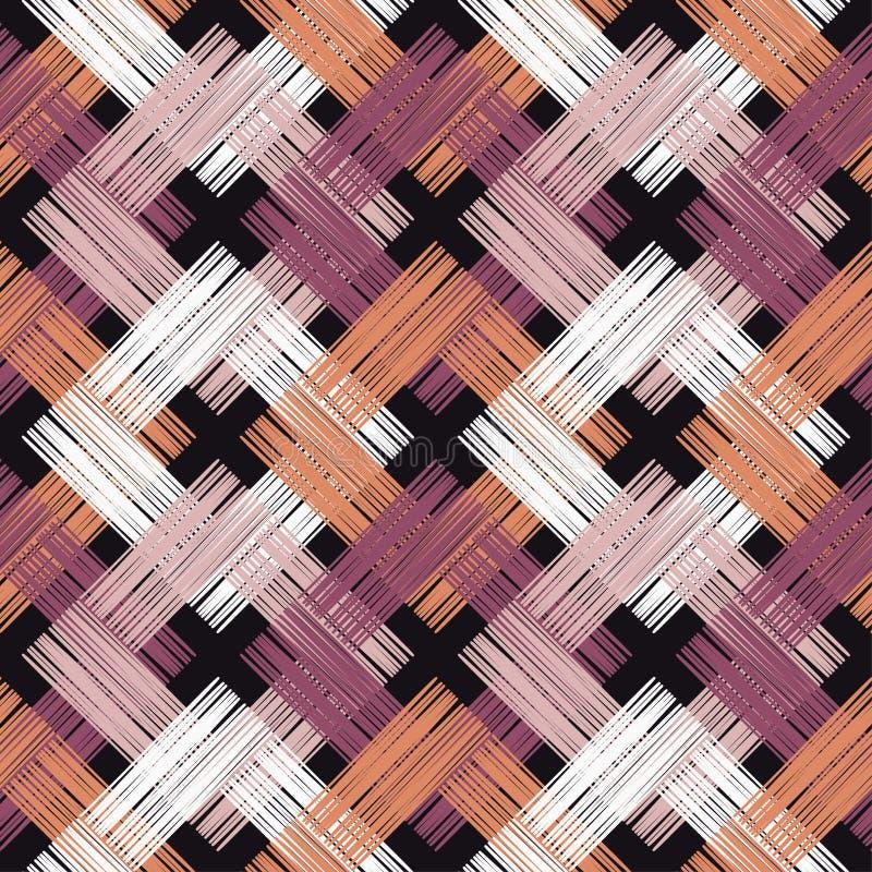 Modèle sans couture de boho ethnique Couvre-tapis asiatique Texture de griffonnage Motif folklorique illustration stock