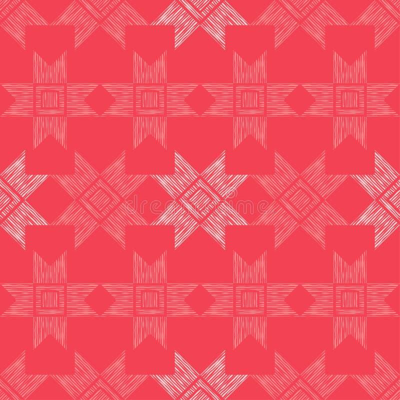 Modèle sans couture de boho ethnique Mosaïque des figures rayées Ornement traditionnel Configuration tribale Motif folklorique illustration libre de droits