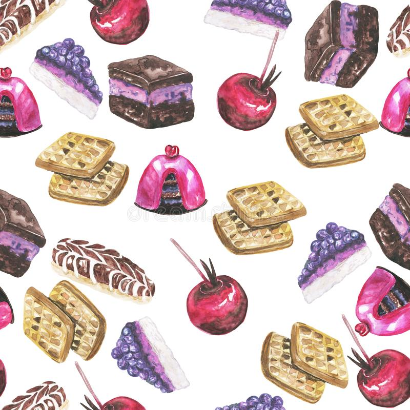 Modèle sans couture de bonbons à aquarelle sur la conception blanche de fond illustration stock
