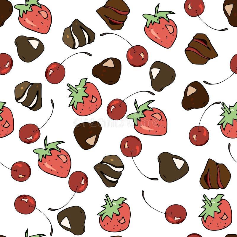 Mod?le sans couture de bonbons ? Vektor : chocolats, cerises, fraises pour d?corer des caf?s, bonbons de emballage et plus photographie stock