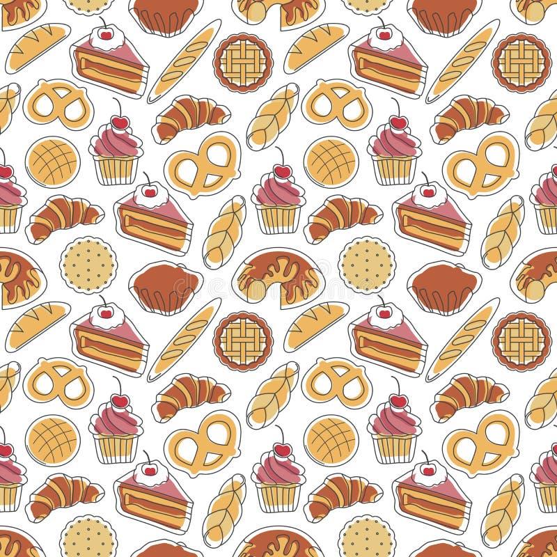 Modèle sans couture de boulangerie photo stock