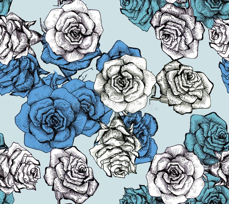 Modèle sans couture de bouquet de croquis de fleur illustration de vecteur