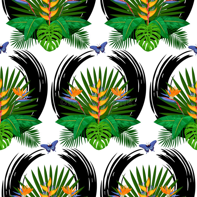 Modèle sans couture de bouquet tropical illustration libre de droits