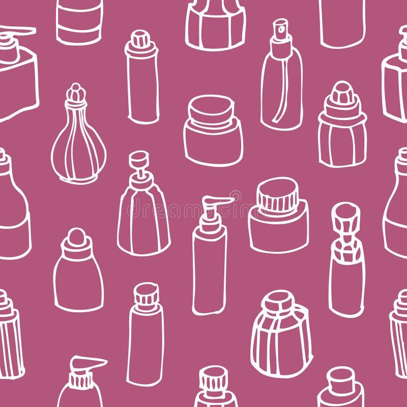 Modèle sans couture de bouteille de parfum et de cosmétique illustration de vecteur