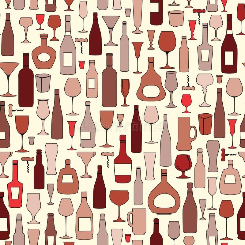 Modèle sans couture de bouteille de vin et en verre de vin Partie b de vin de boissons illustration libre de droits