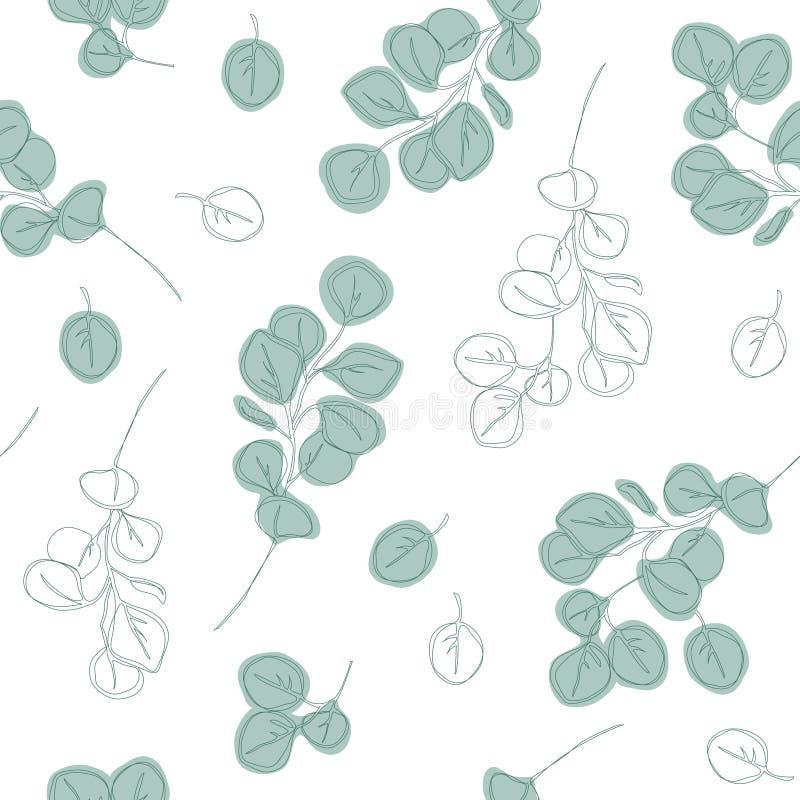 Mod?le sans couture de branches tir?es par la main d'eucalyptus illustration de vecteur