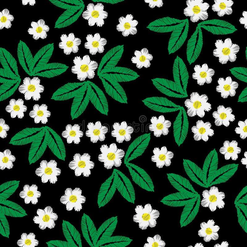 Modèle sans couture de broderie avec peu de fleur blanche et l vert illustration de vecteur