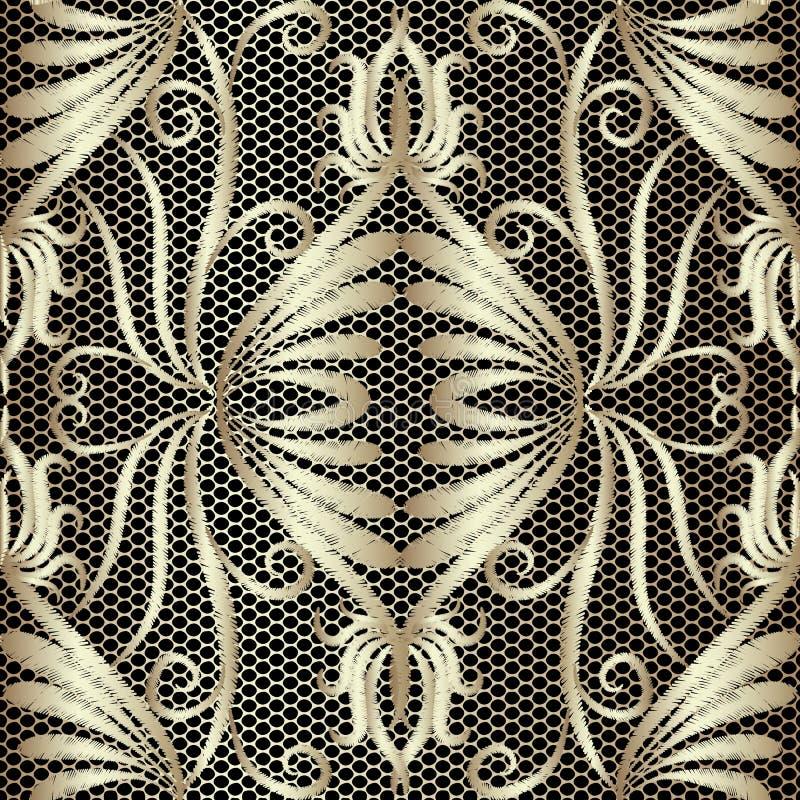 Modèle sans couture de broderie florale texturisée de cru de dentelle Fond de damassé d'or de tapisserie de vecteur Contexte de d illustration de vecteur