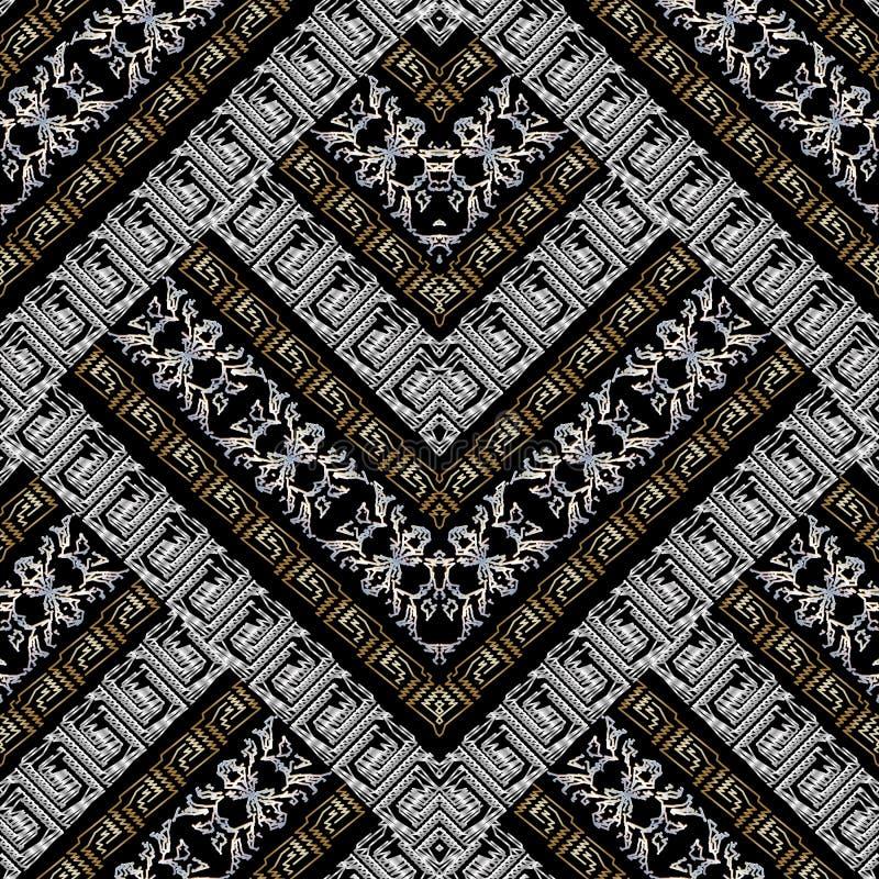 Modèle sans couture de broderie géométrique rayée de méandre Grunge 3d illustration stock