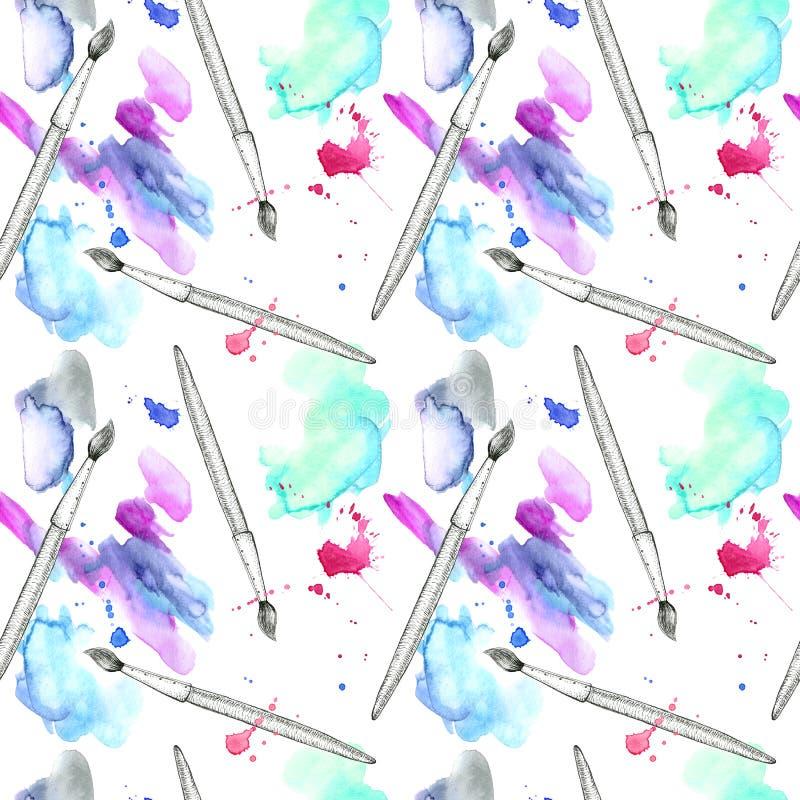 Modèle sans couture de brosse et de tache aqueuse bleue Illustration tirée par la main d'aquarelle abstraite illustration libre de droits