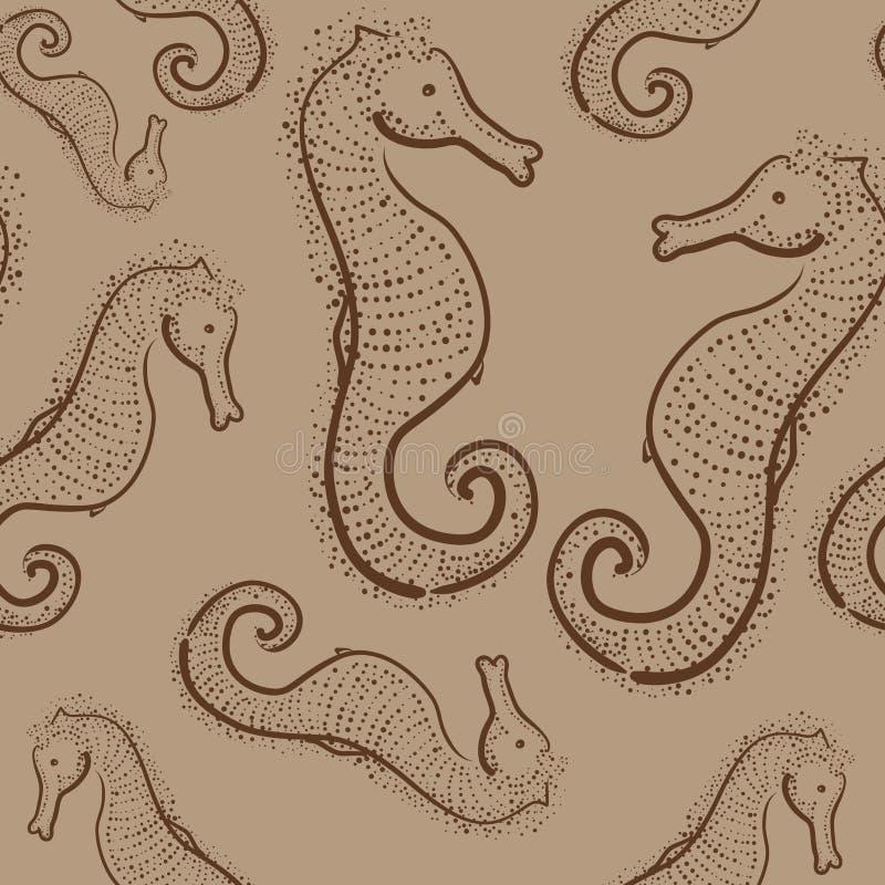Modèle sans couture de Brown avec les hippocampes tirés par la main image libre de droits