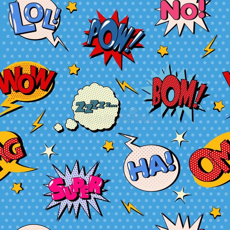 Modèle sans couture de bulle comique Fond d'art de bruit illustration de vecteur
