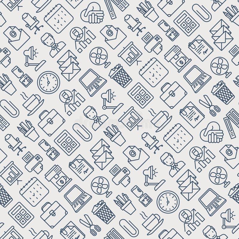Modèle sans couture de bureau avec la ligne mince icônes illustration de vecteur