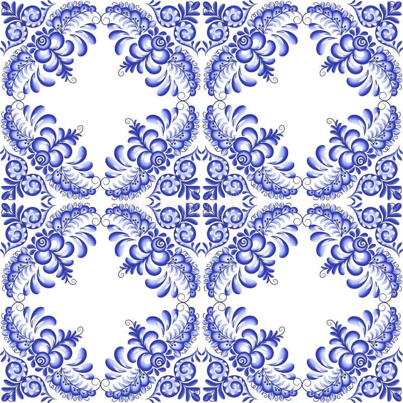 Modèle sans couture de céramique carrée florale bleu-foncé de vecteur dans le style portugais et russe de gzhel illustration de vecteur