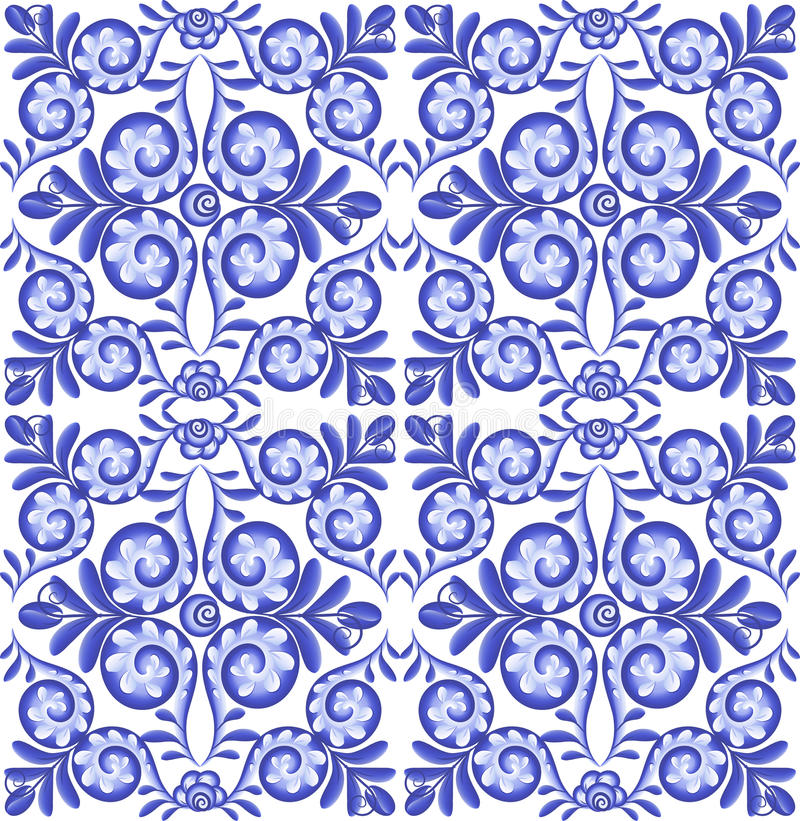 Modèle sans couture de céramique carrée florale bleue de vecteur dans le style portugais illustration stock