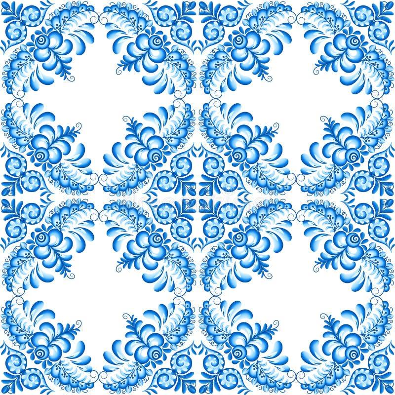 Modèle sans couture de céramique carrée florale de vecteur de turquoise dans le style portugais et russe de gzhel illustration stock