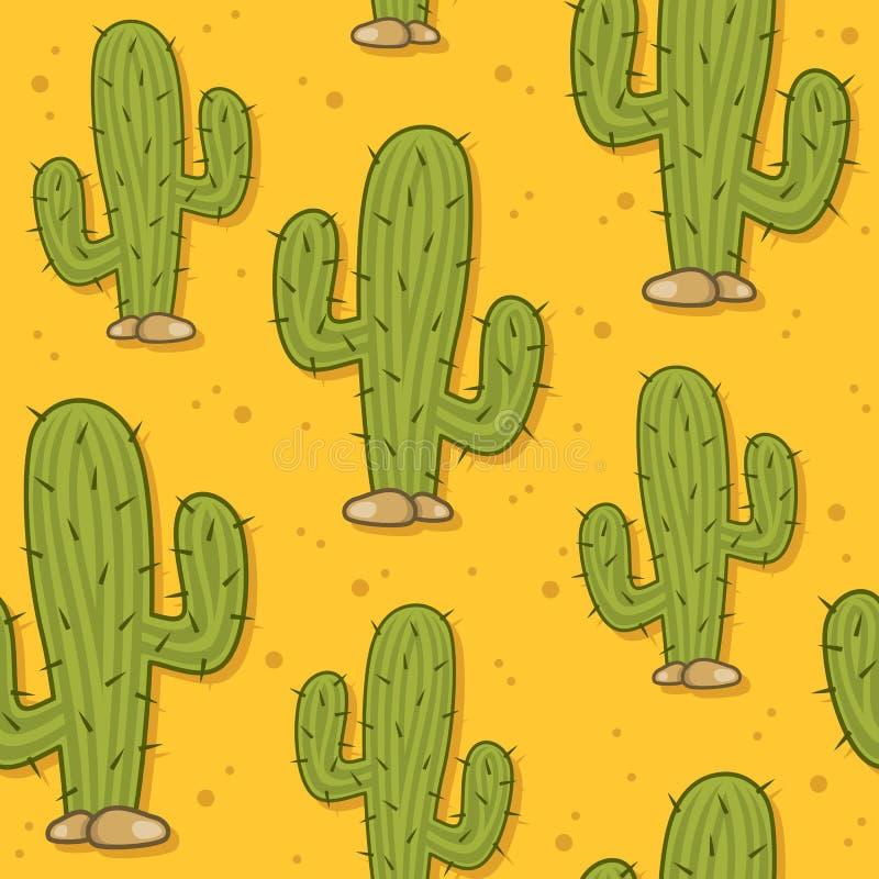 Modèle sans couture de cactus de désert de bande dessinée illustration libre de droits