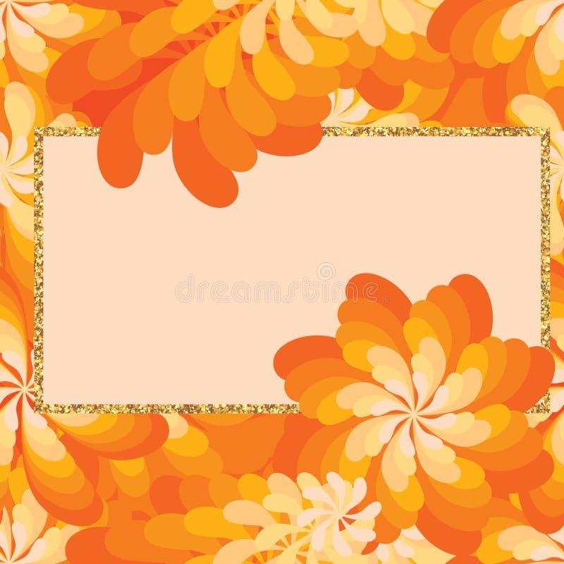 Modèle sans couture de cadre orange de giltter de moulin à vent de fleur illustration libre de droits