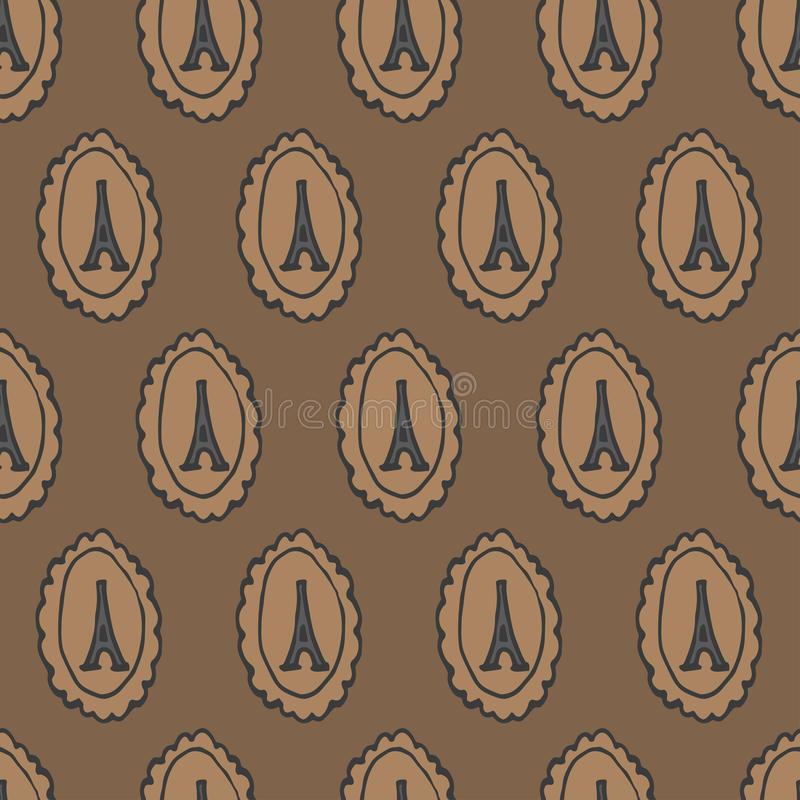 Modèle sans couture de camée de Tour Eiffel de griffonnage illustration stock