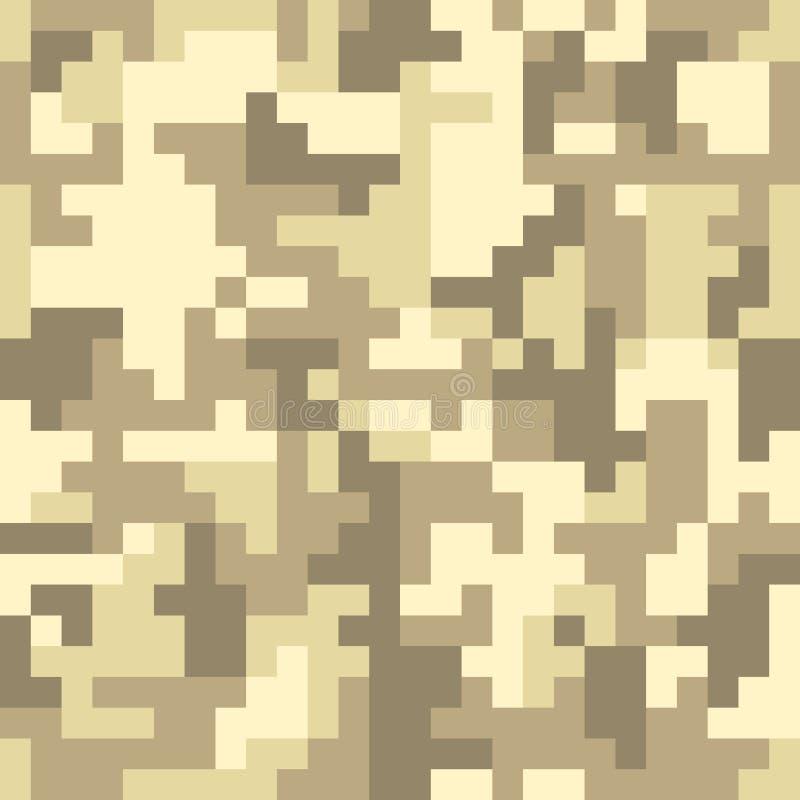 Modèle sans couture de camo de pixel Camouflage de désert ou de jungle de Brown illustration de vecteur