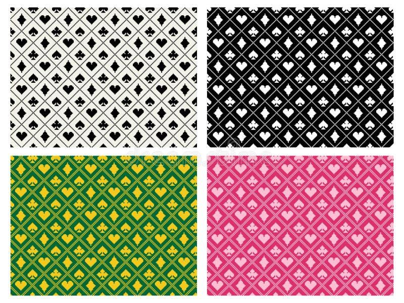 Modèle sans couture de casino dans l'art de batik de pixel, vecteur illustration libre de droits