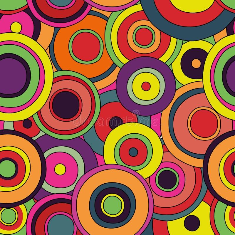 Modèle sans couture de cercles psychédéliques illustration libre de droits