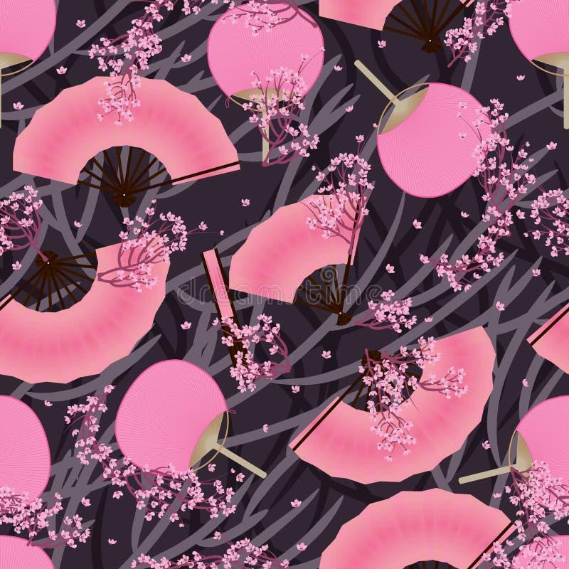 Modèle sans couture de cerise de fan de rose japonais illustration stock
