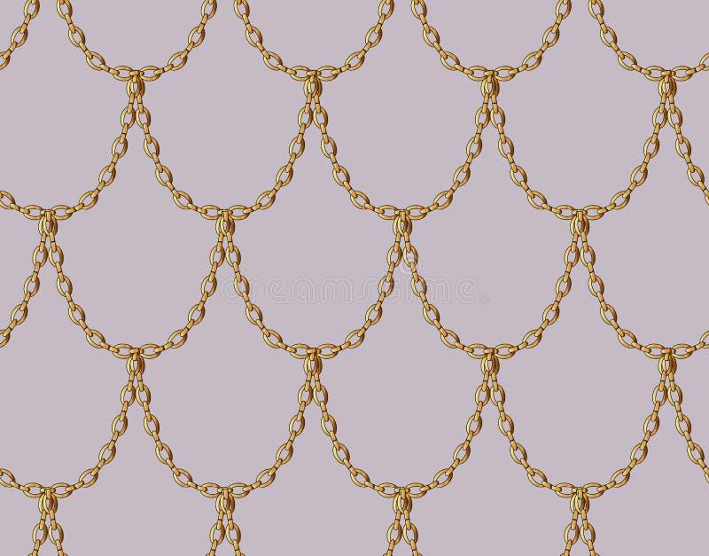 Modèle sans couture de chaîne d'or sur pâle - fond rose Art d'échelle de dragon d'or illustration libre de droits
