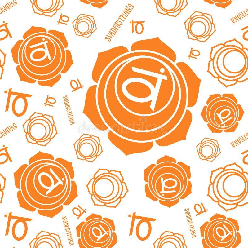 Modèle sans couture de chakra de Swadhisthana Fond ésotérique de vecteur Hindouisme, bouddhisme Ligne symbole Couleur orange illustration de vecteur