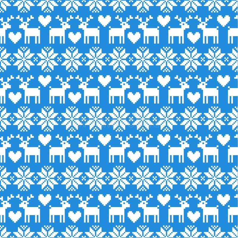 Modèle sans couture de chandail de Noël de vecteur avec des cerfs communs sur le fond bleu illustration stock