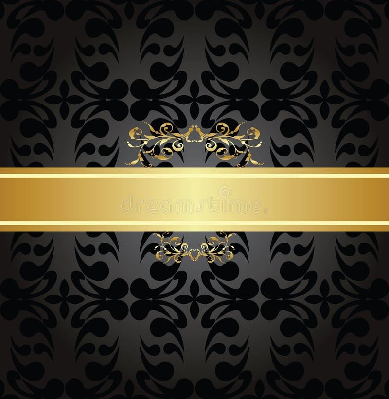 Modèle sans couture de charbon de bois élégant avec la bannière d'or illustration libre de droits