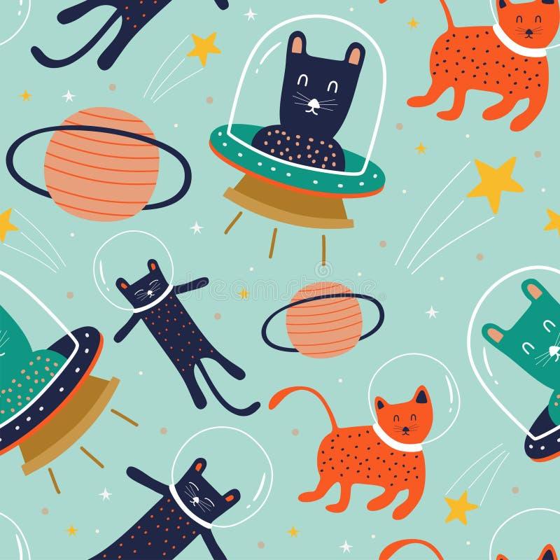 Modèle sans couture de chat drôle avec la planète, l'UFO, et l'étranger sur le concept de l'espace bon pour la copie et l'emballa illustration libre de droits