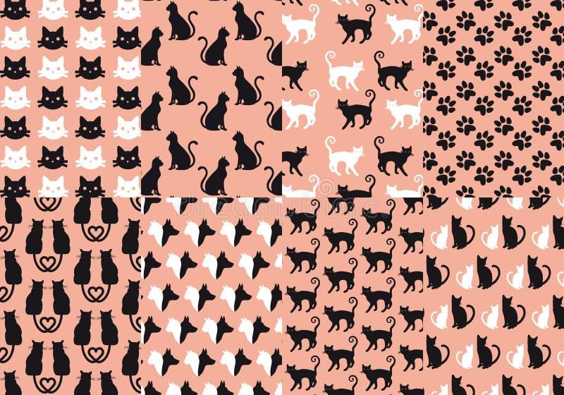Modèle sans couture de chat et de chien, vecteur illustration de vecteur