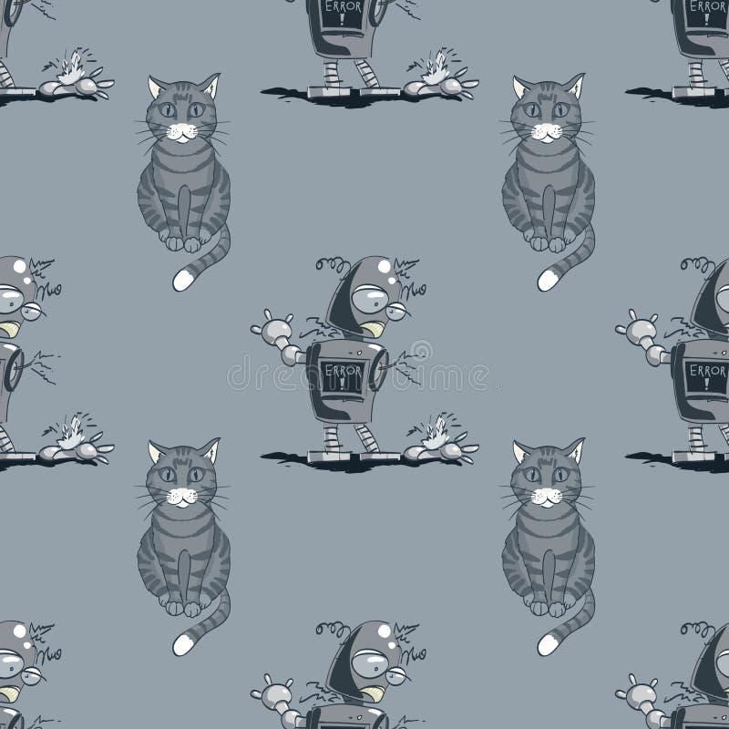 Modèle sans couture de chat et de robot cassé illustration stock