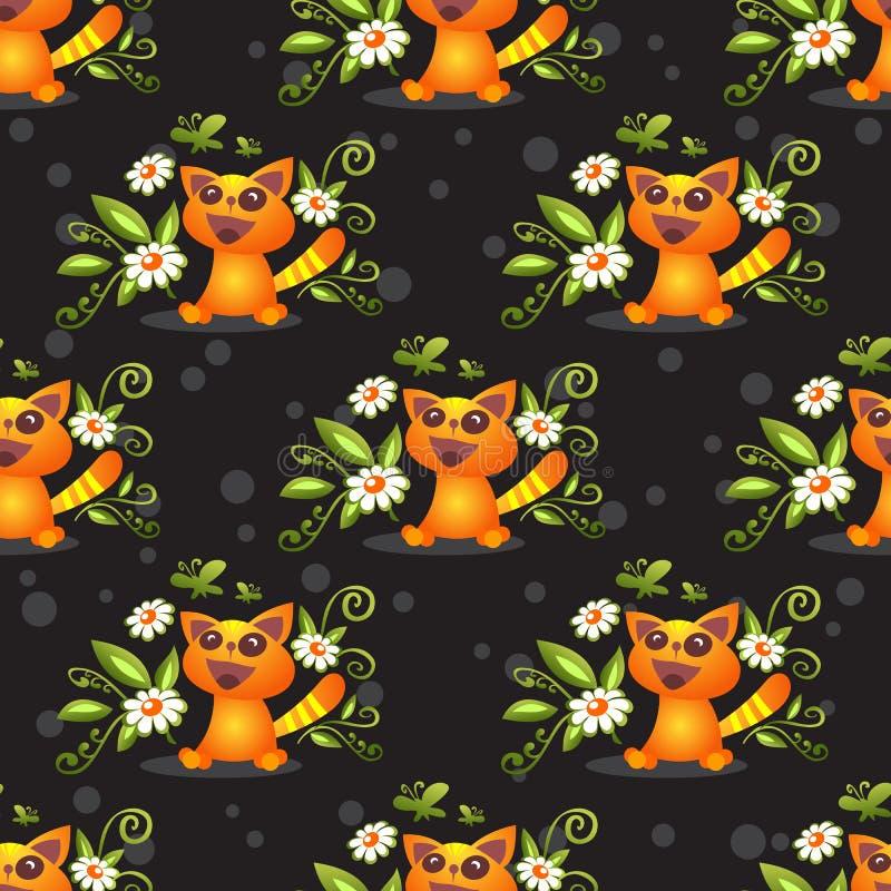 Modèle sans couture de chat heureux illustration de vecteur