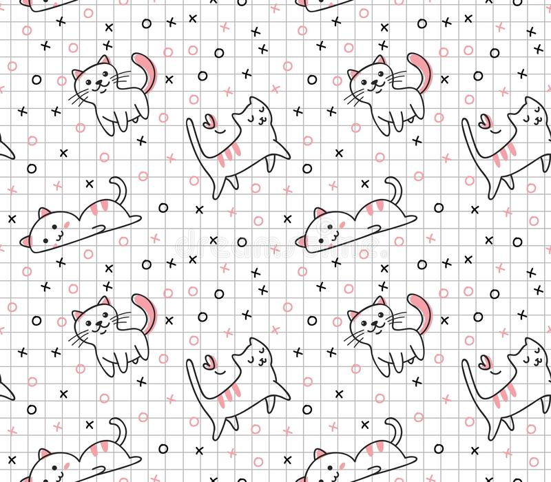 Mod?le sans couture de chat mignon dans l'illustration de vecteur de style de griffonnage de kawaii illustration libre de droits