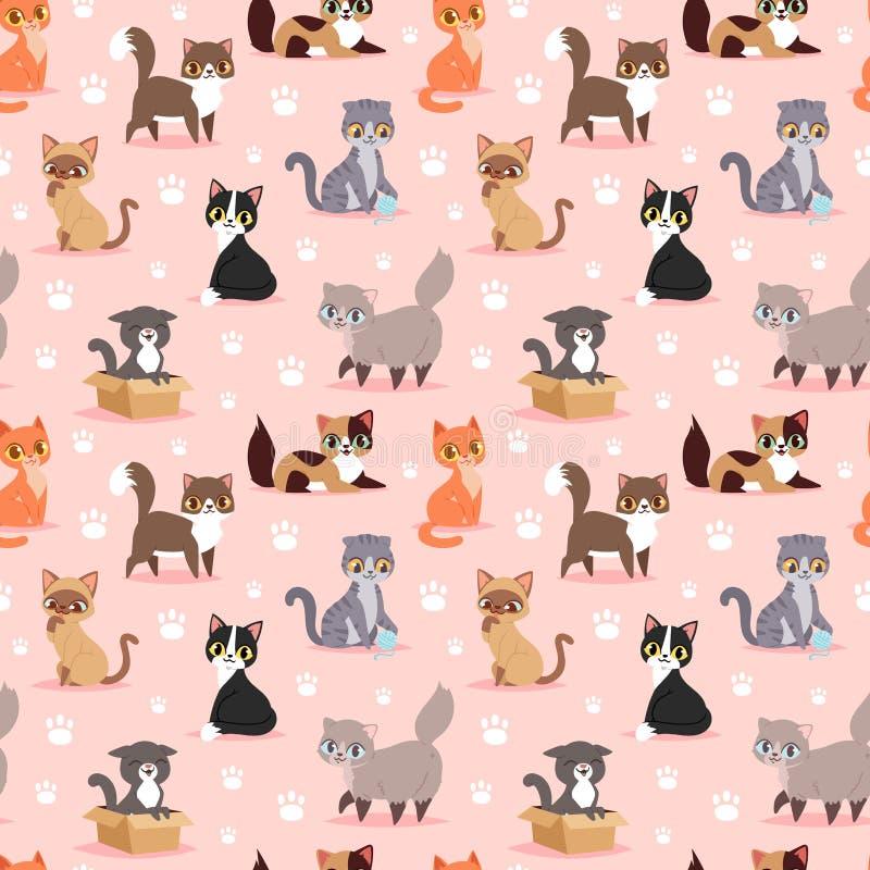 Modèle sans couture de chaton de race de chat d'animal familier de portrait de jeune de bande dessinée illustration animale adora illustration stock