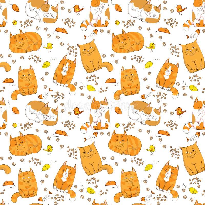 Modèle sans couture de chats colorés mignons illustration de vecteur