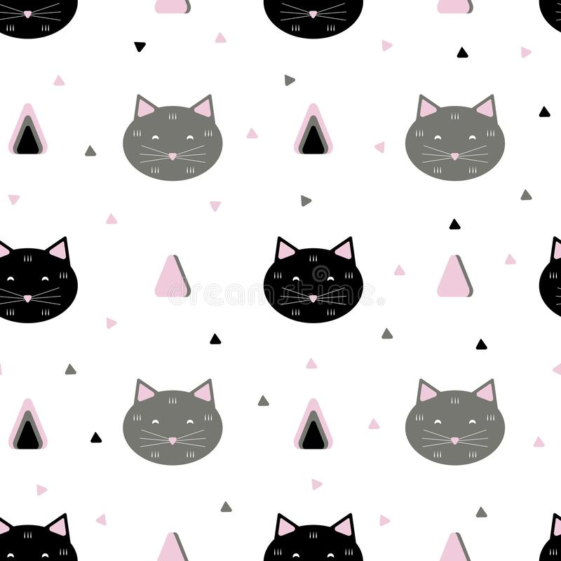 Modèle sans couture de chats illustration de vecteur